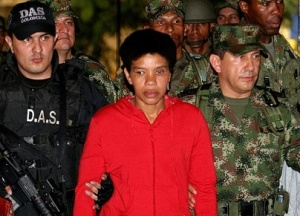 "At center is ""Karina"" FARC's bloodiest female commanders on the day of her surrender"